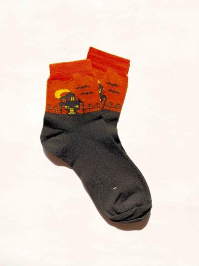 جوراب ساقدار هالووین نارنجی
