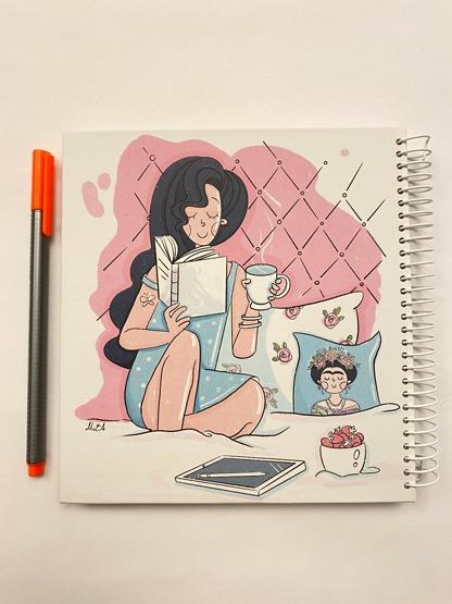 دفتر خطدار دختر کتابخوان