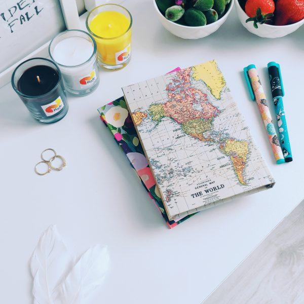 دفتر جلد سخت سایز پالتویی نقشه جهان روشن