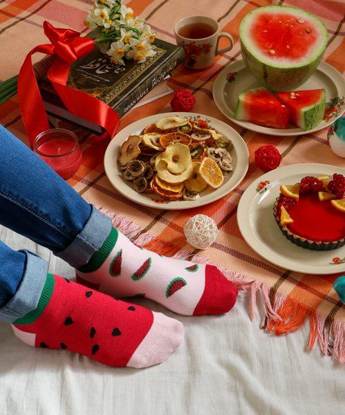 جوراب مچی هندوانه صورتی