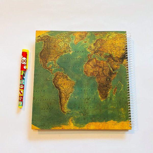 دفتر بی خط بزرگ نقشه سبز تیره